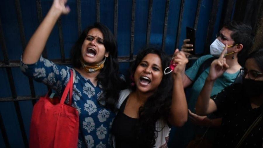 Natasha Narwa and Devangana Kalita outside Tihar prison in New Delhi on Thursday.