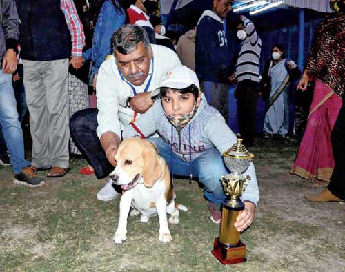 A young boy and his Beagle pose with their trophy