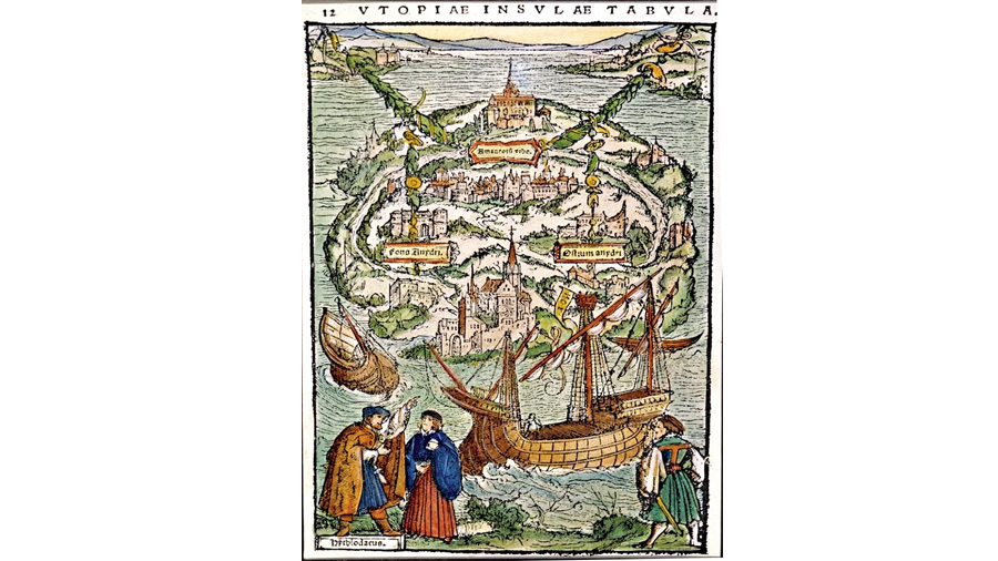 The view of Utopia, a woodcut from Thomas More's Utopia.