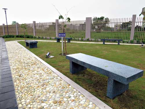 Benches for visitors to rest on
