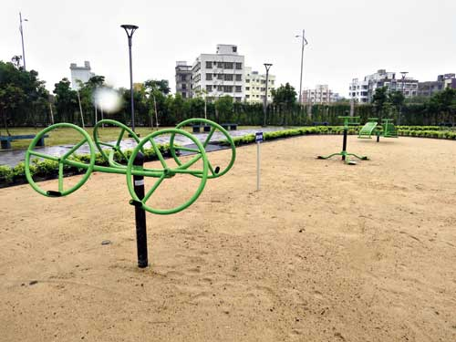 Fitness equipment on a sand pit