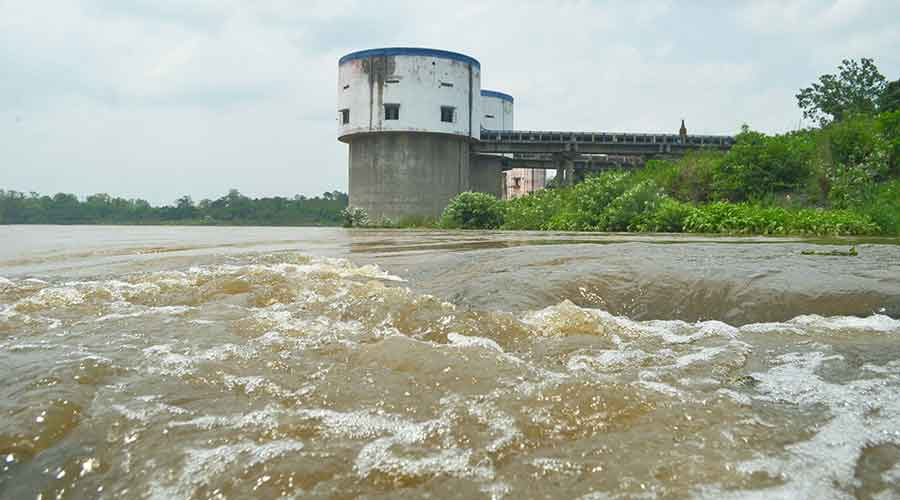 Jharkhand Mineral Area Devlopment Authority intake well on River Damodar during the heavy rain at Jamadoba, Jharia on Thursday.
