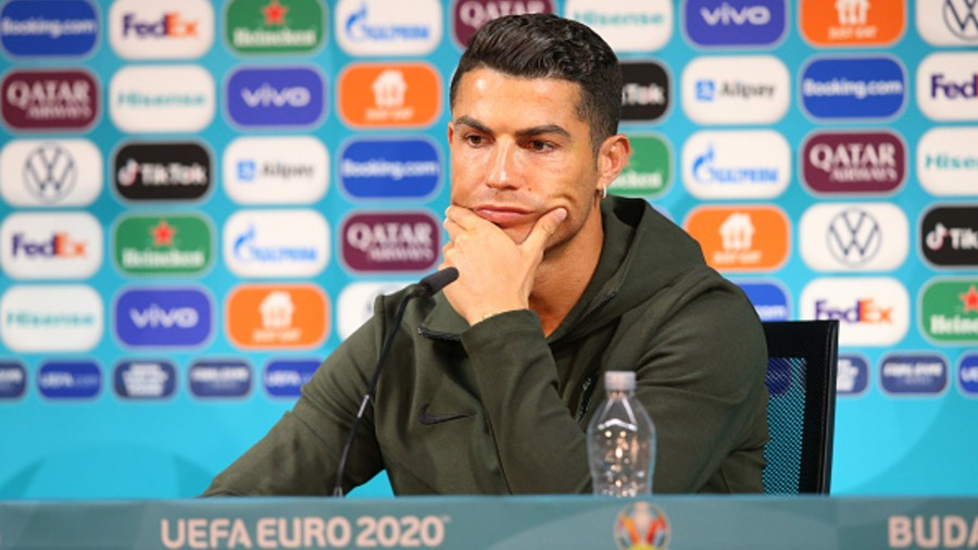 Cristiano Ronaldo of Portugal speaks to the media during the Portugal Press Conference ahead of the Euro 2020 Group F match between Hungary and Portugal at Puskas Arena  in Budapest, Hungary.