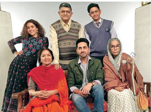 With the cast and crew of the 2018 film Badhaai Ho, that sparked off Neena Gupta's flourishing second innings as an actor