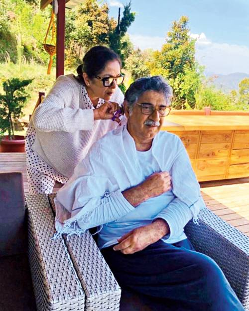 With husband Vivek Mehra at their home in Mukteshwar