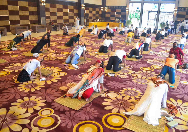 Varanasi residents perform asanas ahead of International Yoga Day.