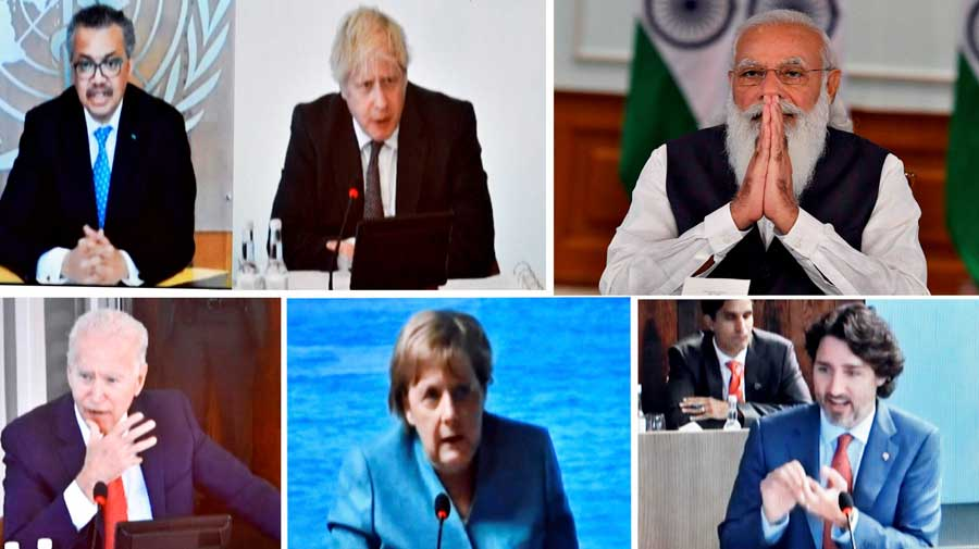 Narendra Modi participates in the first Outreach Session of the G7 Summit virtually with other leaders, in New Delhi.