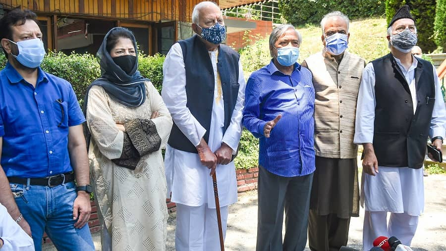 National Conference President Farooq Abdullah and PDP Chief Mehbooba Mufti with other members during a media address after a meeting of Peoples Alliance for Gupkar Declaration in Srinagar on Tuesday, June 22.