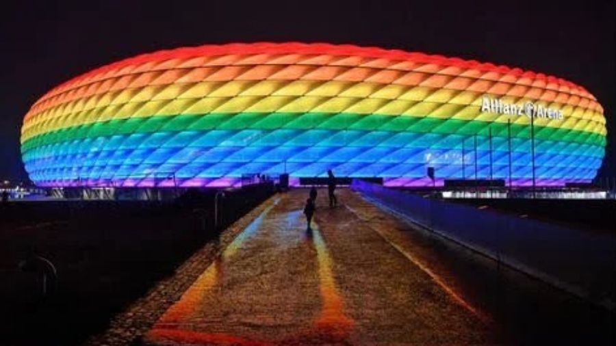 The Allianz Arena lit up in rainbow colours after a Bundesliga match in Munich in January.