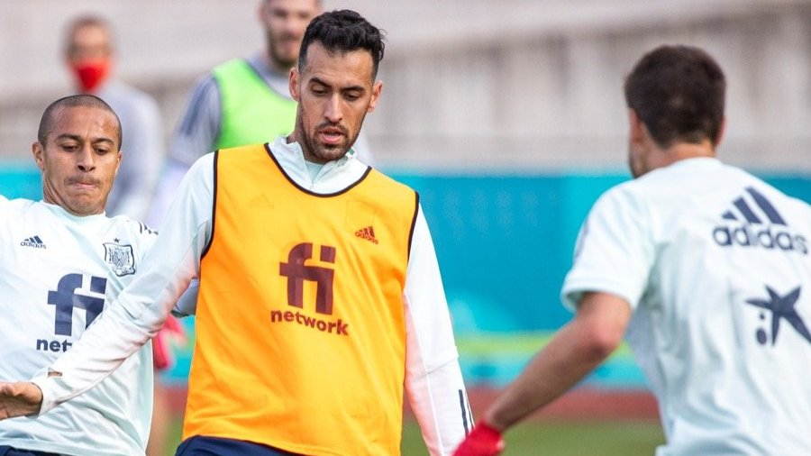 Sergio Busquets during training with Spain.