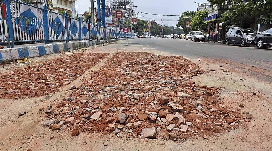 A broken stretch of SP Mukherjee Road on Wednesday.