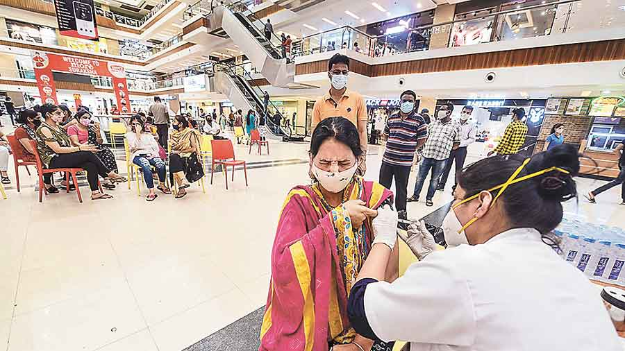 Vaccination drive at a shopping mall in Indore  on Wednesday.
