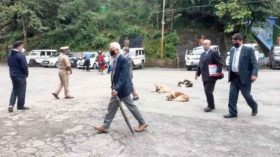 Representatives of the National Gorkhaland Committee in front of Raj Bhavan in Darjeeling on Thursday