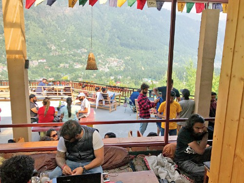 The view of the town of Manali from Rocky's Cafe
