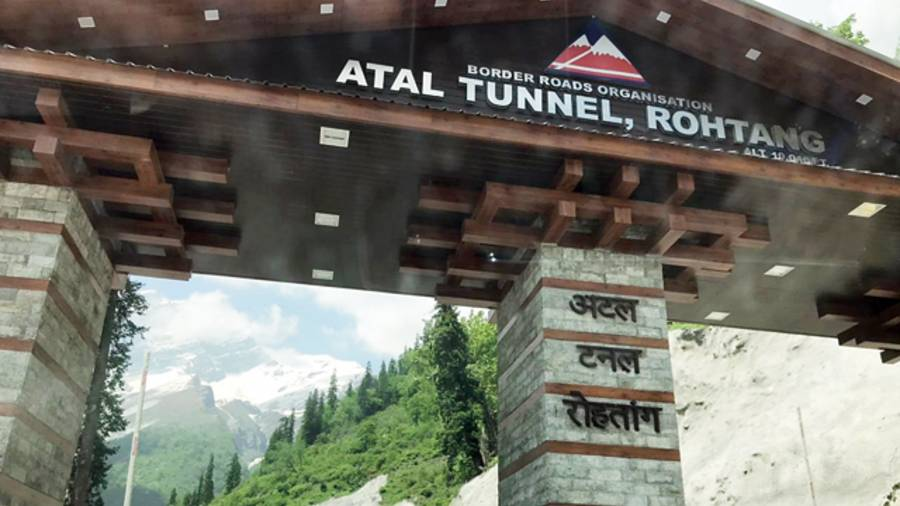The welcome arch at the south portal of the tunnel