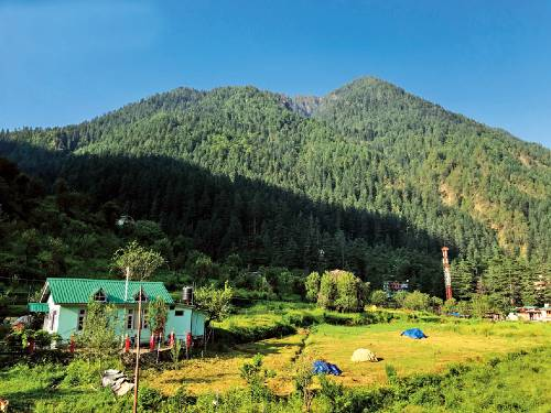 A view of the quaint village of Kasol that was the first destination
