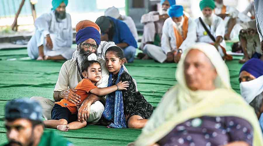 Farmers and their families at the Singhu border protest  site on Saturday, which was observed as Save Agriculture, Save Democracy Day
