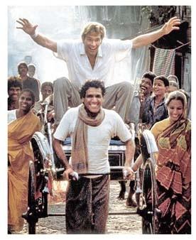 Om Puri with Patrick Swayze in City of Joy