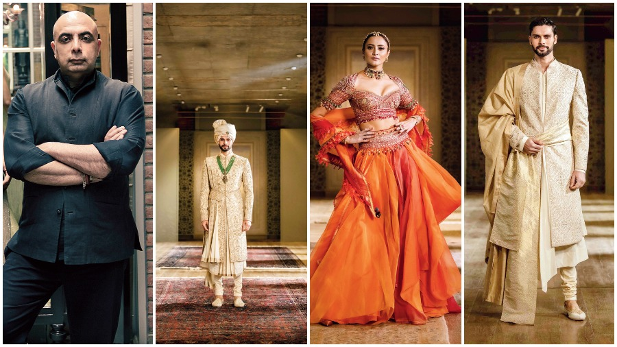 Tarun Tahiliani (extreme left) and some of his creations