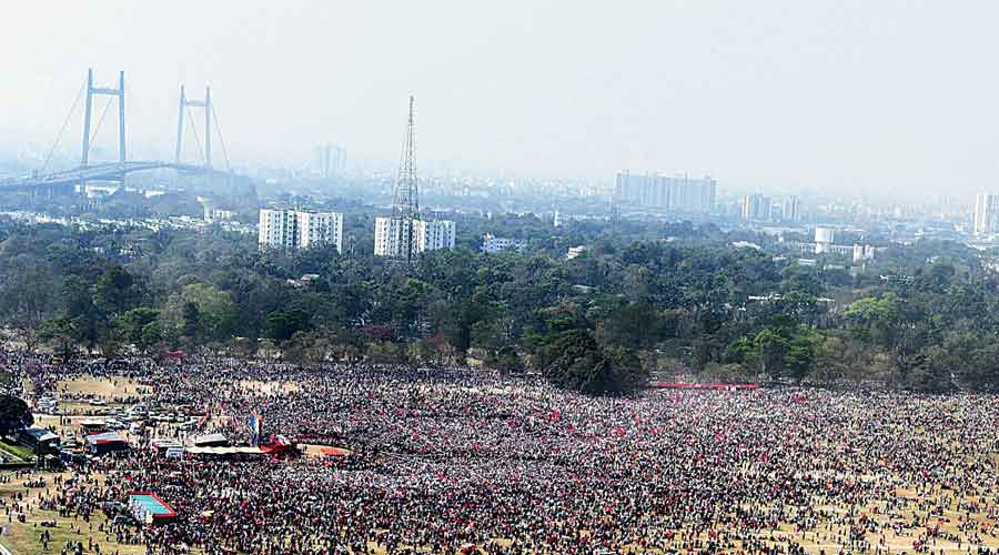 The Left-Congress-ISF Brigade rally on Sunday