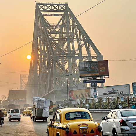 The Howrah Bridge at 7am captured on the iPhone 12 Pro.