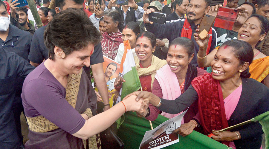 Priyanka Gandhi Vadra being welcomed by party supporters during her visit to Assam's Lakhimpur district on Monday.