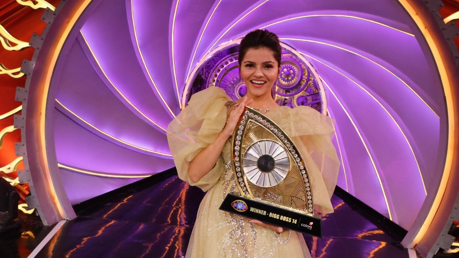 Rubina with the Bigg Boss trophy