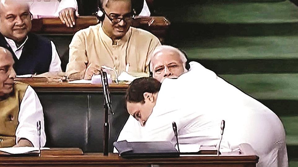 Rahul Gandhi hugs Narendra Modi.