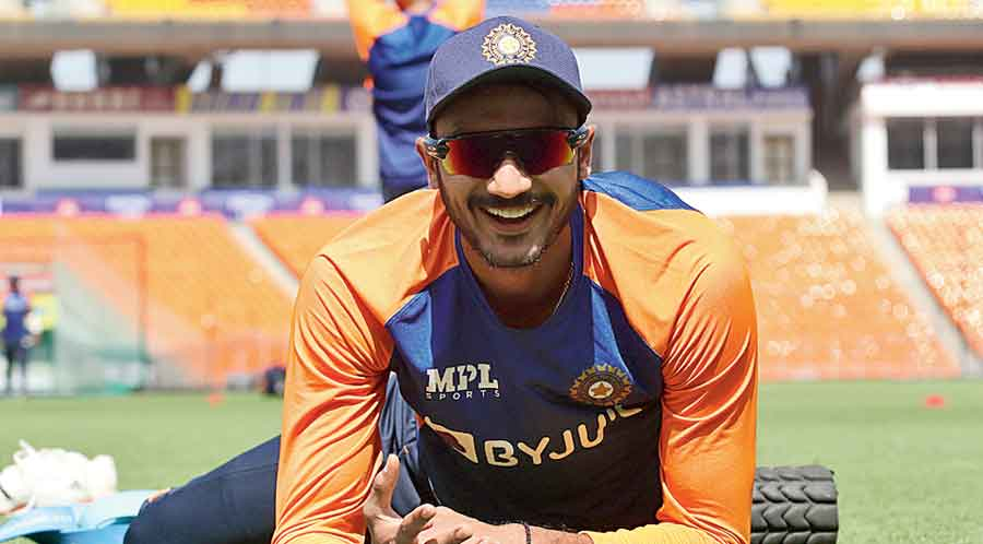 Axar Patel during a break in practice in Ahmedabad on Tuesday.