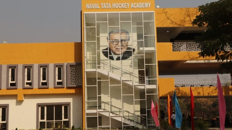 A robot-created mural of Naval Tata at the Golmuri-based Naval Tata Hockey Academy.