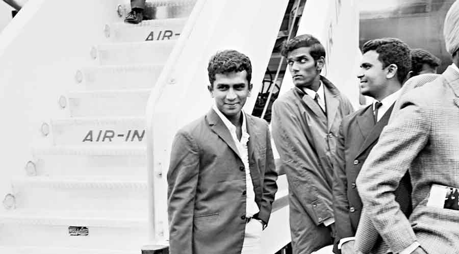 Sunil Gavaskar (left), along with other Indian Test cricketers, arrive at London airport on June 18, 1971, for the start of their tour of England. This followed Gavaskar's debut series in the West Indies.