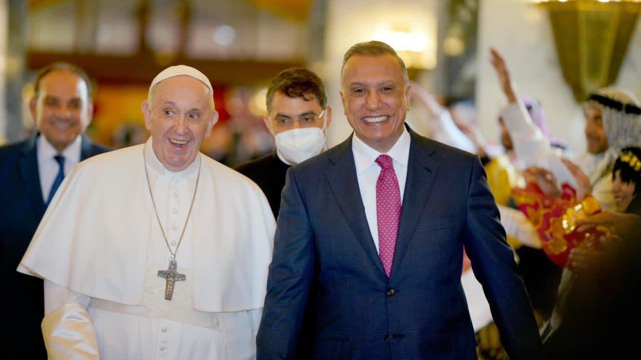 Pope Francis with Iraq PM Mustafa Al-Kadhimi.
