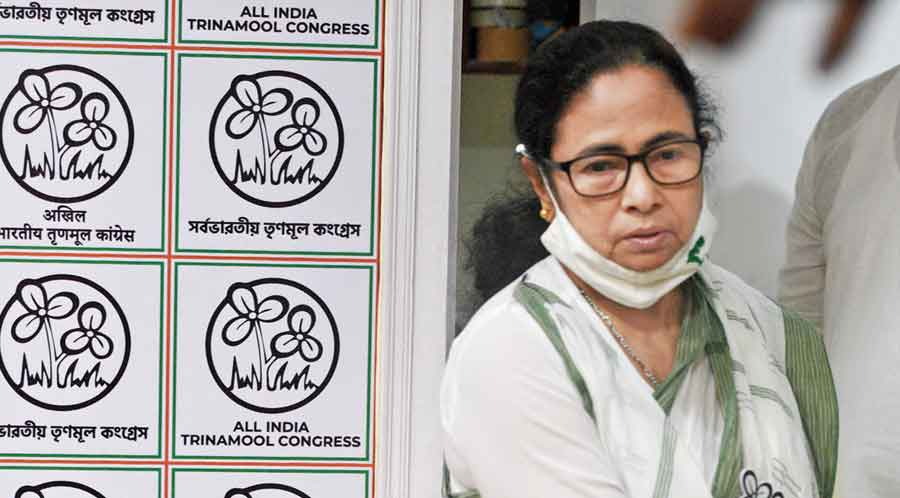 Mamata at her residence  in Calcutta on Friday