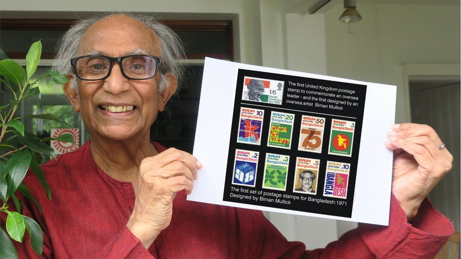Biman Mullick shows the Gandhi centenary stamp (1969) and the first set of Bangladesh stamps he designed.