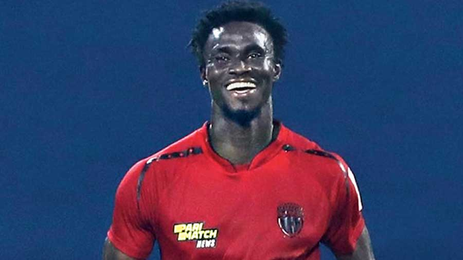Idrissa Sylla is all smiles after scoring NEUFC's equaliser against ATK Mohun Bagan.