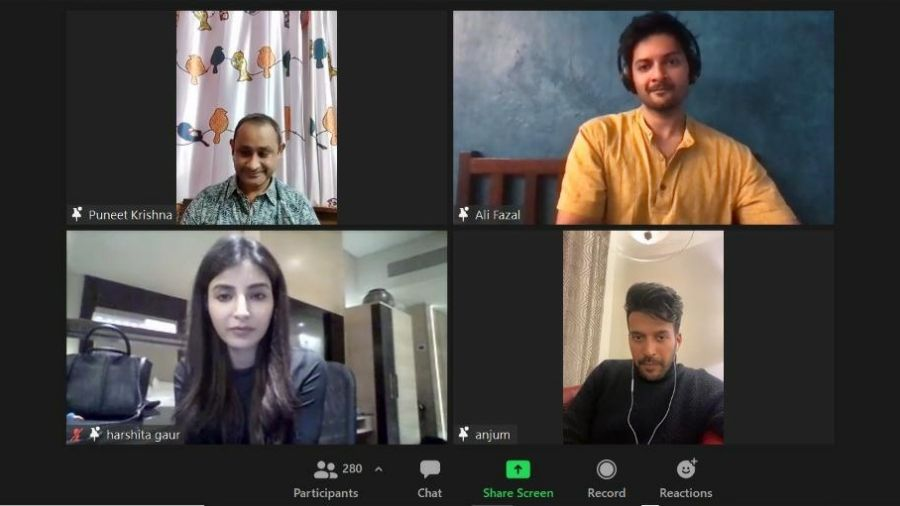 The Mirzapur panel on Zoom session at Ensemble-Valhalla on Saturday.