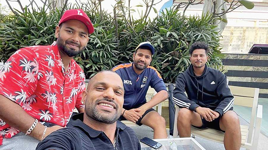 """Rishabh Pant with Shikhar Dhawan, Rohit Sharma and Kuldeep Yadav in a Twitter picture on Sunday. """"Some rest and recreation with @SDhawan25 @ImRo45 @imkuldeep18 after a tough few months of cricket. Looking forward to the T20s  next!"""" tweeted Pant"""