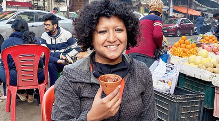 The author enjoys chai at Kona Dukan.