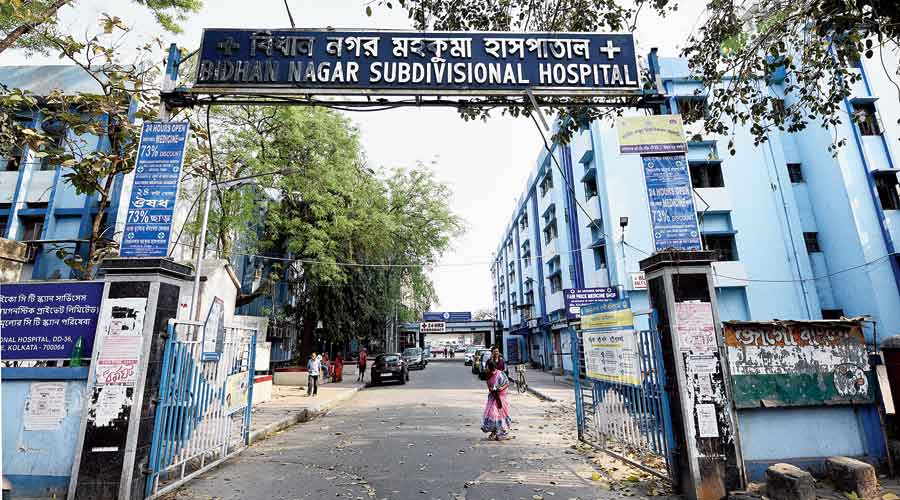 The Bidhannagar Sub-divisional Hospital in Salt Lake where the Covid-19 vaccination  drive is on for those above 60 years of age and those between 45 and 59 years with comorbidities