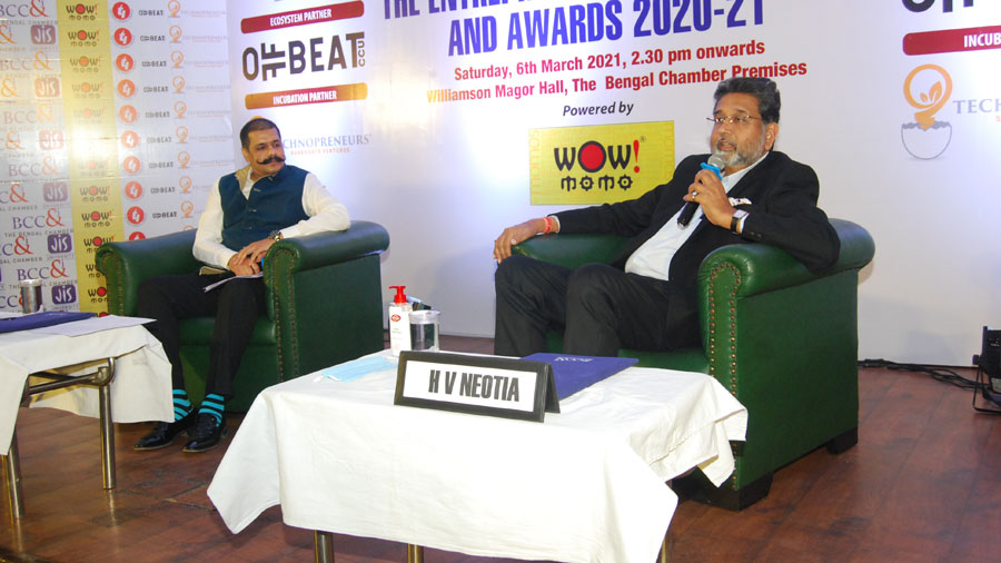 Harshavardhan Neotia, Chairman, Ambuja Neotia Group, in a fireside chat session with Deepak Daftari, chairperson, Taskforce on Investments, The Entrepreneurs' Committee, BCC&I and director & CEO of DD Web Vision.