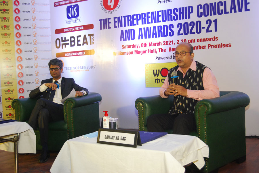 Sanjay Kumar Das, WBCS, joint secretary, Department of IT & Electronics, in a fireside chat session with Sandeep Sengupta, member of The Entrepreneurs' Committee and founder-director of ISOAH Data Securities.