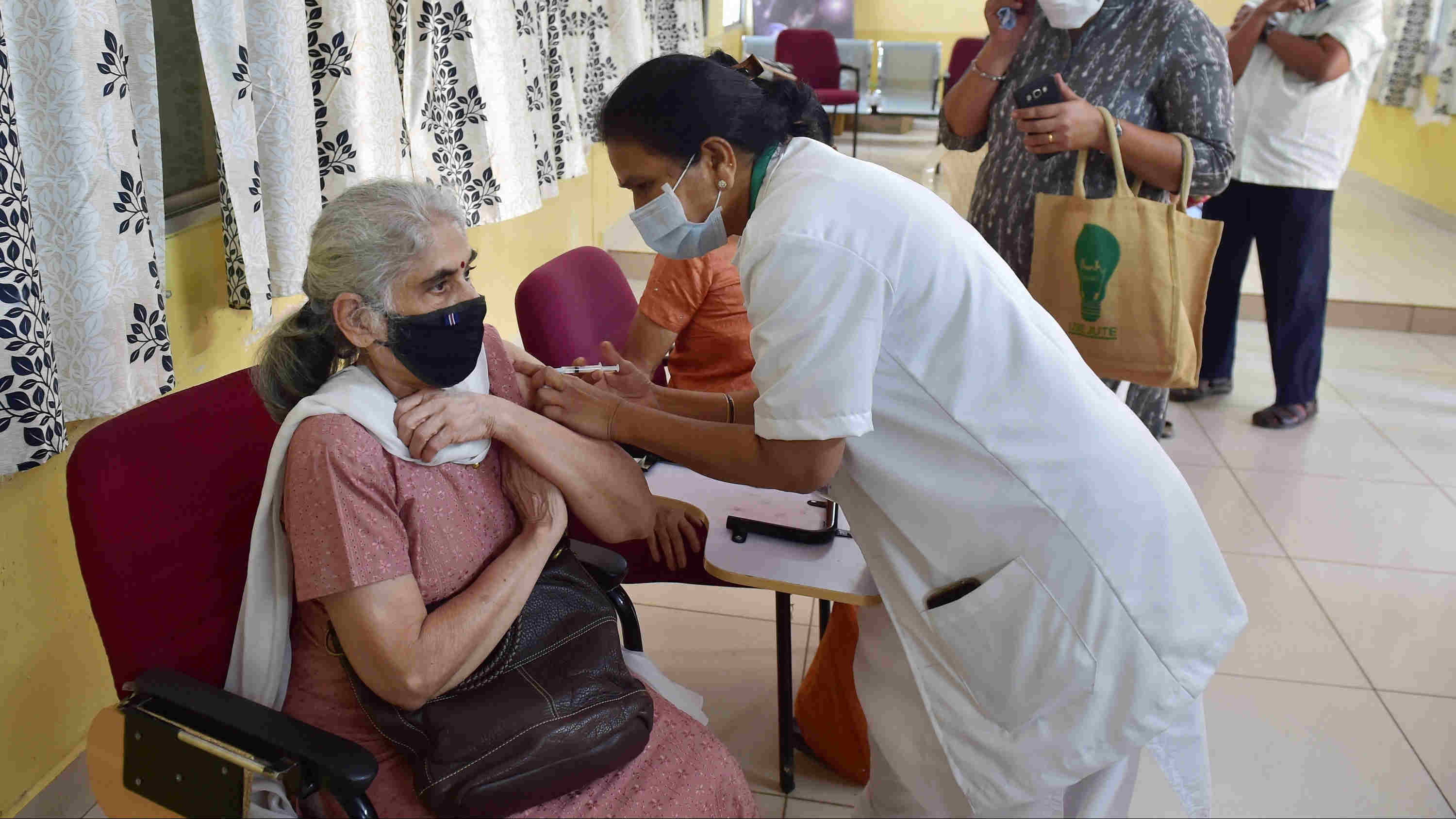 An elderly citizen being administered the COVID-19 vaccine, during the second phase of the countrywide inoculation drive in Bengaluru, Saturday, March 6, 2021.