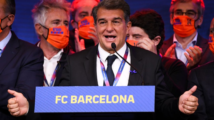 Joan Laporta after being elected as club president on Sunday