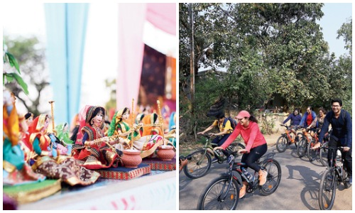 (L) Handmade local craft on display, (R) The cycling tour