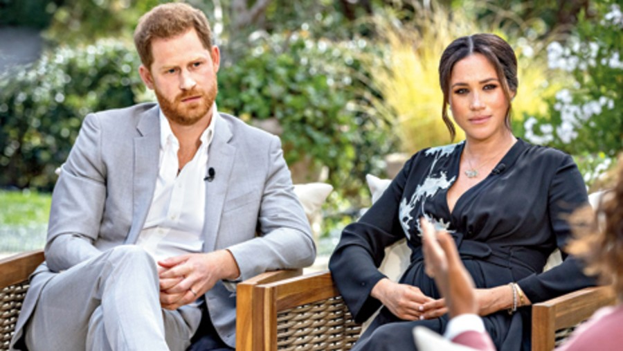 Harry and Meghan during the interview with Oprah Winfrey