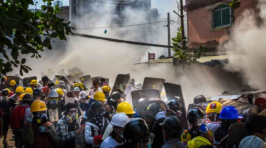 Police used tear gas, sound grenades and rubber bullets to crack down on the demonstrations in Yangon