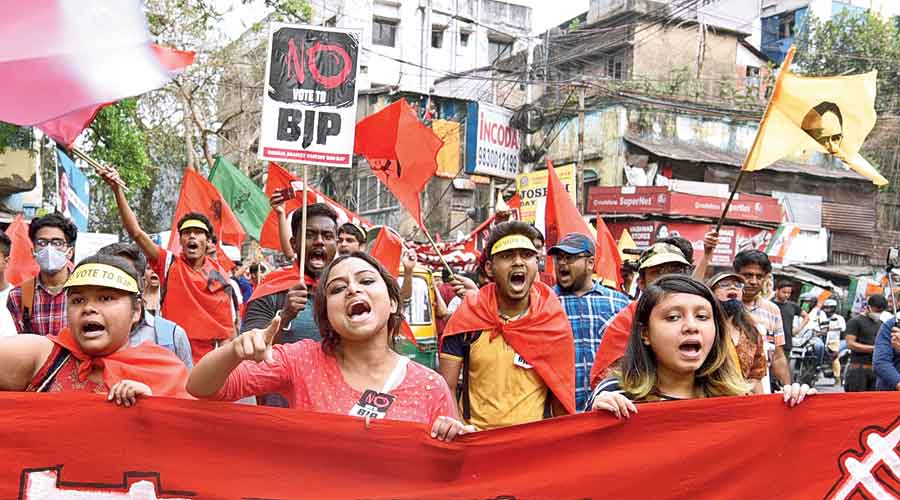 Participants in the rally between Ramlila Park in Moulali and Hogg Street, near the Calcutta Municipal Corporation headquarters in Esplanade, on Wednesday