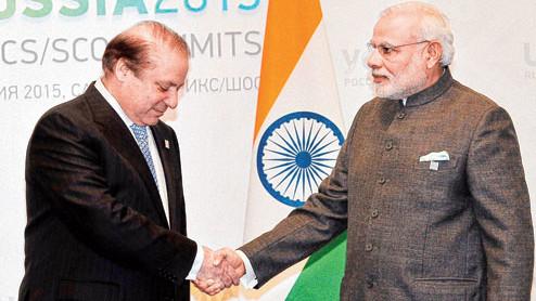 Nawaz Sharif and Narendra Modi in New Delhi on May 27, 2014.
