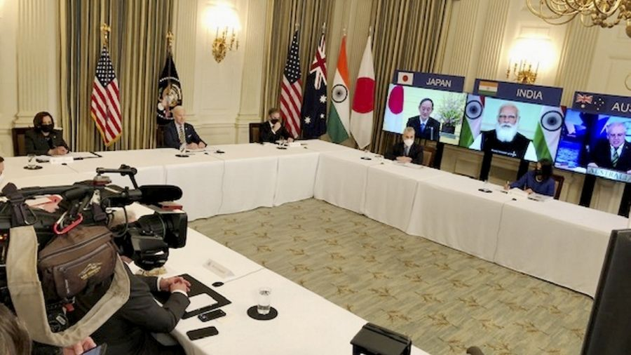 Leaders including Narendra Modi and Joe Biden interact during a virtual Quad meeting on Friday.