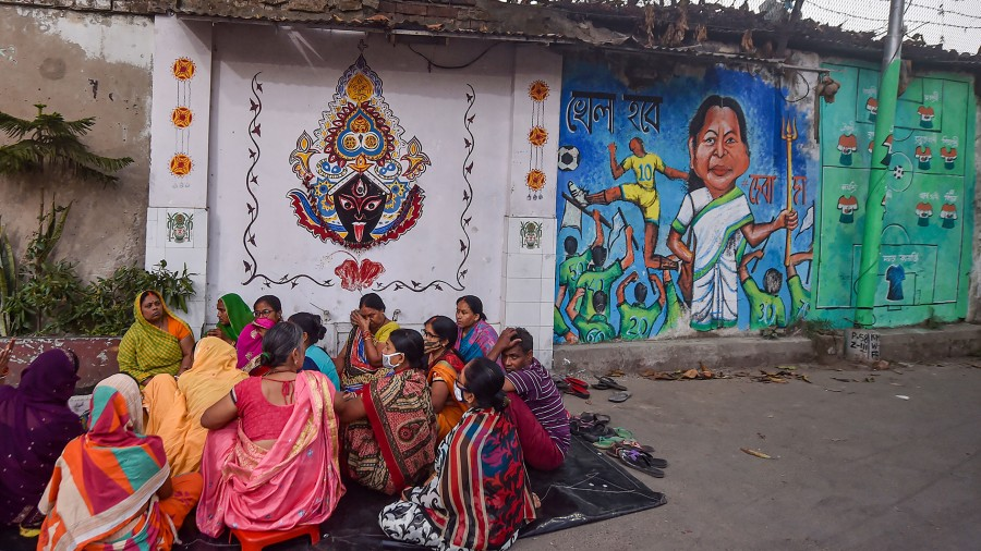 PUBLIC PARTY: A wall graffiti in Calcutta with this yearís TMC slogan Khela Hobe